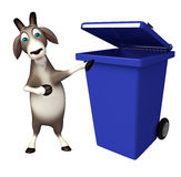 Fun Goat cartoon character with dustbin Stock Images