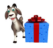 Fun Goat cartoon character with gift box Royalty Free Stock Photos