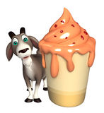 Fun Goat cartoon character with ice cream Stock Photos
