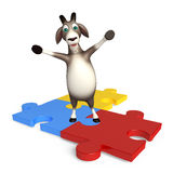 Fun Goat cartoon character with puzzle Royalty Free Stock Photography