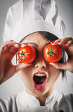Fun goofy chef with tomato eyes Stock Photo