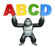 Fun Gorilla cartoon character with ABCD sign. 3d rendered illustration of Gorilla cartoon character with ABCD sign Stock Photography