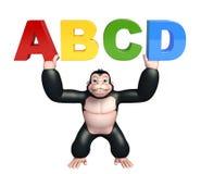 Fun Gorilla cartoon character with ABCD sign Stock Photo