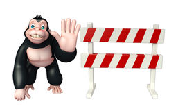 Fun Gorilla cartoon character  with baracade Royalty Free Stock Image