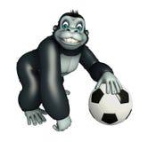 Fun Gorilla cartoon character with football stock illustration