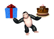 Fun Gorilla cartoon character  with gift box and cake Stock Photography