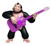 Fun Gorilla cartoon character with guitar Royalty Free Stock Image