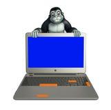 Fun Gorilla cartoon character with laptop Stock Photos