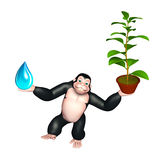 Fun Gorilla cartoon character  with water drop and plant Royalty Free Stock Images