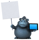 Fun gorilla - 3D Illustration Stock Images