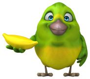 Fun green bird - 3D Illustration Stock Photo