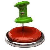 Fun green thumbtack on red button Stock Images