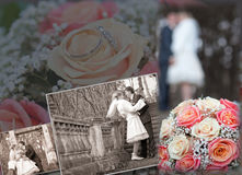 Fun groom and bride in autumn wedding day Stock Image