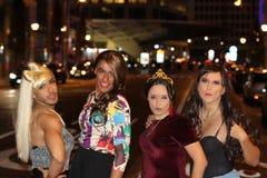 Fun group of four transvestites.  stock photography