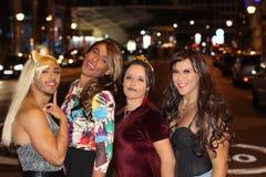 Fun group of four transvestites.  stock photo