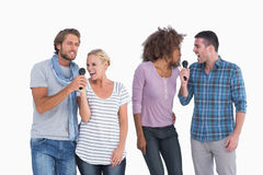 Fun group at karaoke Royalty Free Stock Image