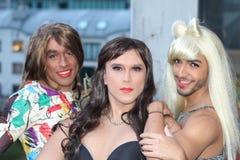 Fun group of three transvestites.  royalty free stock image