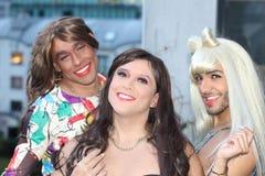 Fun group of three transvestites.  royalty free stock images