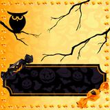 Fun Halloween candy banner. Orange and black Halloween banner with candy. Graphics are grouped and in several layers for easy editing. The file can be scaled to Royalty Free Stock Images