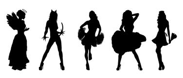 Fun Halloween Costumes. Silhouettes of fun Halloween costumes on white Royalty Free Stock Photography