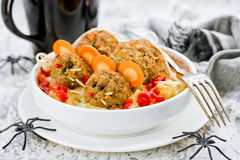 Fun Halloween dinner meatball mouse with ketchup and mashed pota Royalty Free Stock Photos