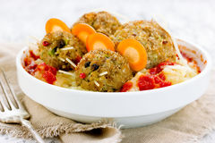 Fun Halloween dinner meatball mouse with ketchup and mashed pota Royalty Free Stock Images