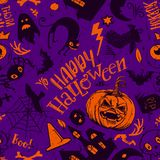 Fun Halloween Seamless Pattern. Haloween Seamless Pattern in cartoon style. Black sketches characters. Grave, ghost, pumpkin, cat, bat, castle holiday doodles Royalty Free Stock Photo