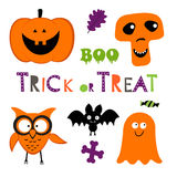 Fun Halloween set with pumpkin, owl, bat, ghost Royalty Free Stock Images