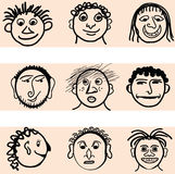 Fun Hand Drawn Faces Stock Photography