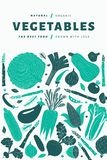Fun hand drawn vegetables design template. Food background. Linocut style. Healthy food. Vector illustration. Cartoon hand drawn vegetables design template. Food stock image