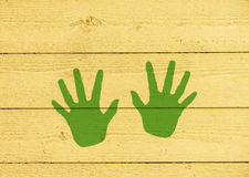 Fun handprints on wall Royalty Free Stock Photography