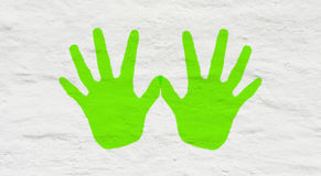 Fun handprints on wall Royalty Free Stock Image