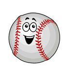 Fun happy baseball ball. Cartoon vector illustration of a fun happy baseball ball with colourful red stitching and a smiling face isolated on white Stock Image