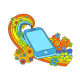 Fun, happy and bright phone illustration. Royalty Free Stock Image