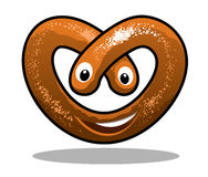Fun happy curly pretzel. Fun happy curly crisp brown pretzel in a heart shape with a smiling mouth and eyes, cartoon  illustration Royalty Free Stock Image