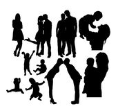 Fun and Happy Family Activity Silhouettes Stock Photos
