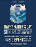 Fun Happy Fathers Day flyer design. Father's day invitation flyer with dark blue background and beard shape stock illustration
