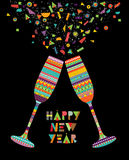 Fun happy new year design of drink glass party Royalty Free Stock Images