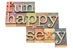 Fun, happy and sexy word abstract Stock Photo