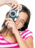 Fun happy young girl taking a photo Royalty Free Stock Photos