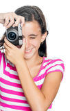 Fun happy young girl taking a photo Royalty Free Stock Photo