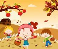 Fun Harvest. Children have fun in autumn season royalty free illustration