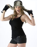 Fun with hats. Model having fun during photo shoot Stock Photo