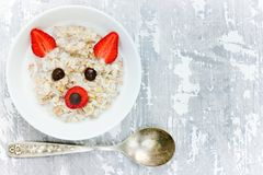 Fun and healthy breakfast idea for kids Royalty Free Stock Image