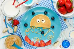Fun and healthy breakfast idea for kids - pancake shaped medusa Royalty Free Stock Image