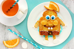 Fun and healthy breakfast for kid egg toast with chocolate Royalty Free Stock Photography