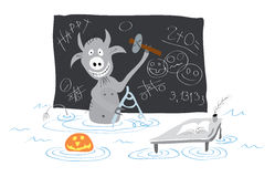 Fun hell teaches the technical drawing in Halloween celebration Royalty Free Stock Photo