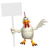 Fun Hen cartoon character with  board Stock Photo