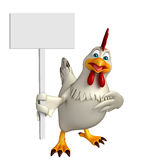 Fun Hen cartoon character with  board Royalty Free Stock Photography