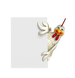 Fun Hen cartoon character with  board Stock Image